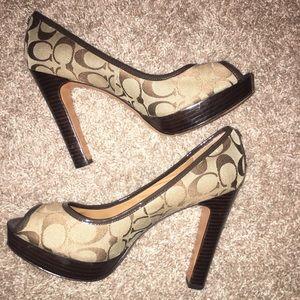 Coach Breana Peep Toe Platform Heels